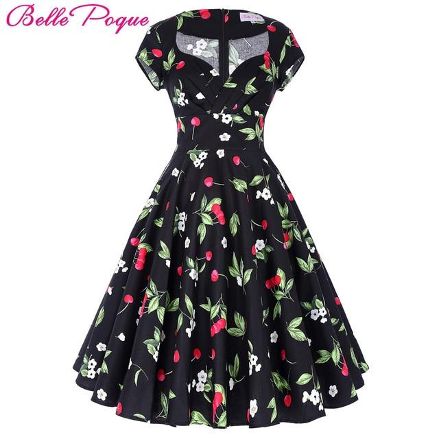 b4d33a380 € 21.77 49% de DESCUENTO|Belle Epoque Audrey Hepburn vestido Rockabilly  Retro vestido 2018 jurken 60 s Swing Floral Pin las mujeres verano 50 s ...