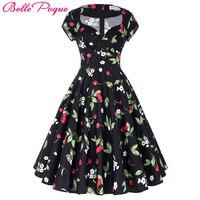 2016 Audrey Hepburn Robe Rockabilly Clothing Women Summer Style 50s Vintage Dresses Jurken Swing Floral Print