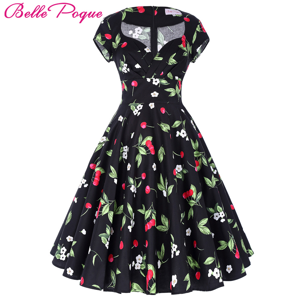 0930c24a54c89c Belle Poque Audrey Hepburn Robe Retro Rockabilly Dress 2018 jurken 60s  Swing Floral Pin up Women Summer 50s Vintage Dresses