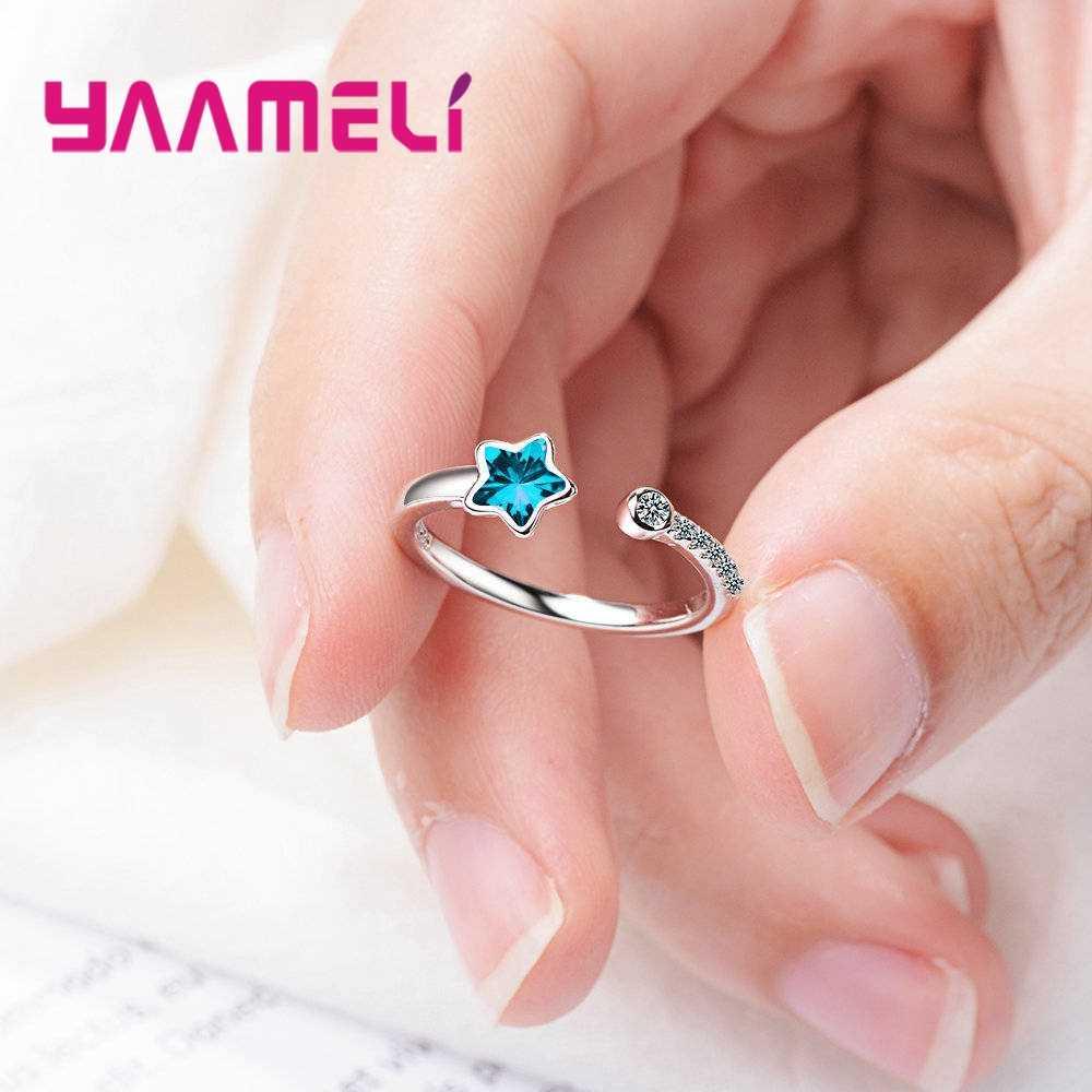 לנצח אהבת קלאסי כחול כוכב נישואים טבעות 925 סטרלינג כסף נוצץ AAA CZ טבעות תכשיטי כמו נשים מתנה