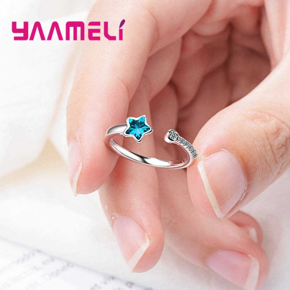 Forever Love классические синие звезды обручальные кольца 925 стерлингового серебра сверкающие AAA CZ кольца ювелирные изделия как подарок для женщин