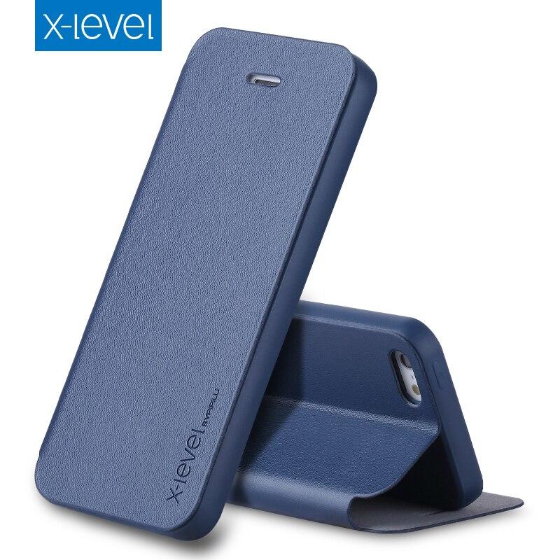 buy online 79bf2 8b8fe X-Level Flip Phone Case for Apple iPhone 5 5s SE Original PU Leather Case  Cover Luxury Stand Case Cover for iPhone 5 5s SE