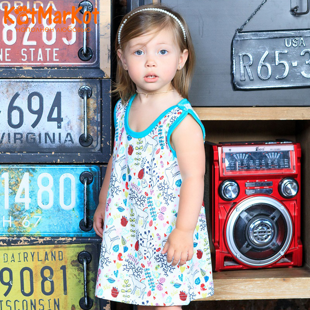 Фото - Dresses Kotmarkot 7039  baby dress for a girl tunic for newborns  summer  Cotton Casual plus lace insert floral tunic dress