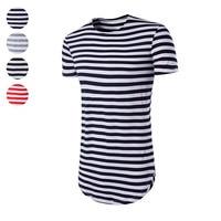 Fashion Men Summer T-shirt O-Neck Short Sleeves Slim Fit Striped Casual Hip Hop Tees Tops JL