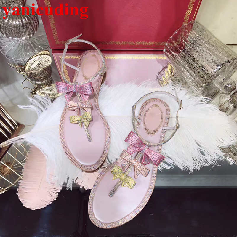 Colorful Crystal Embellished Butterfly Knot Decor Women Sandals Flip Flop Summer Flats Buckle Design Shoes Brand Sapato Feminino sandals 2016 new famous brand buckle womens flip flop sandals summer beach sandals af327