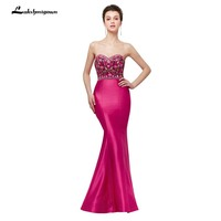 Floral Embroidery Evening Dress Spaghetti Strap Sweetheart Mermaid Prom Dress Long Rose Red Satin Gown