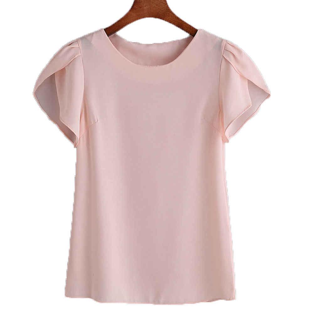 夏の女性のシフォンブラウス半袖レッドレディースオフィスの女性のシャツプラスサイズワークトッププラスサイズ Casul 女性服