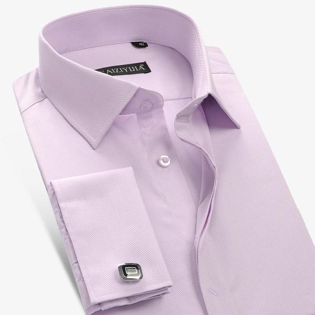 Men French Style Fashion Business Shirt  Brand Casual Cotton Twill  Long Sleeve Formal Male Dress Shirts Plus Size 4XL
