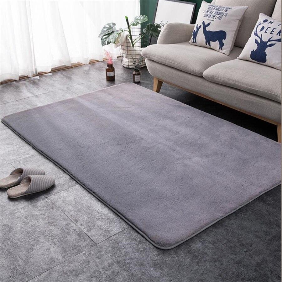 Style nordique imitation fourrure de lapin tapis chambre chevet maison épaississement tapis salon table basse ronde en peluche tapis de sol complet - 4