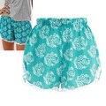 2016 Mujeres de Moda de Verano Floral Elástico de La Cintura Pantalones Cortos de Algodón Para Mujer Pantalones Cortos Mujer Ocasional Más El Tamaño de Playa Pantalones Cortos Casuales