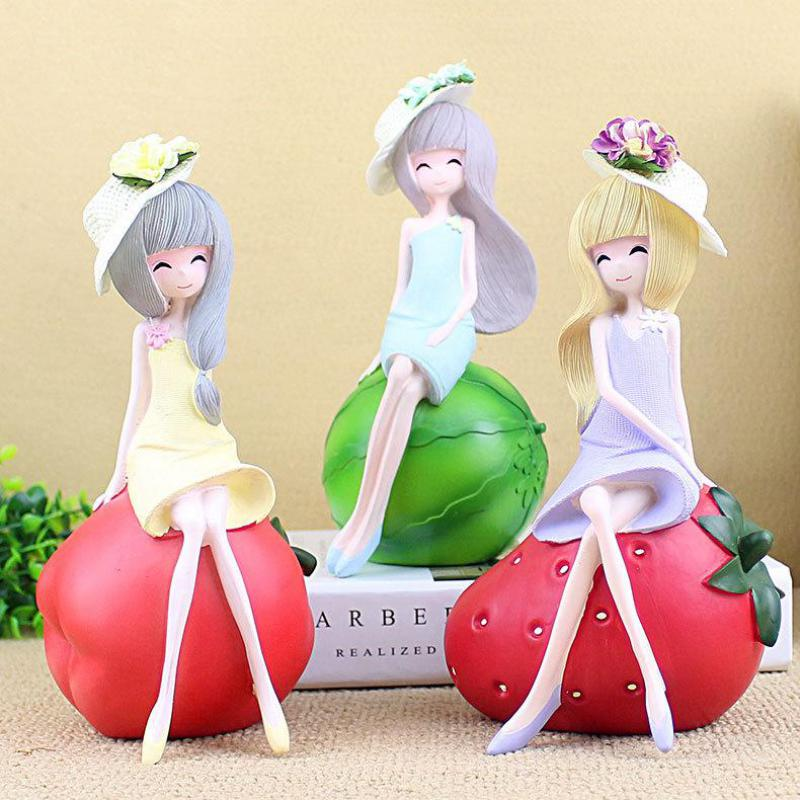 jelly Color Kawaii Fruit Girl Resin Crafts Figurines Cute Watermelon ...
