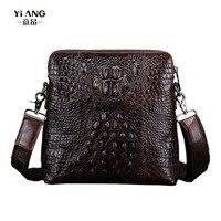 New 2017 Men Genuine Leather Crocodile Grain Patterns Vintage Cross Body Messenger Shoulder Business Casual Bag