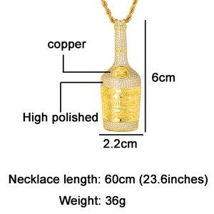 Image 2 - アイスアウトブリンブリンシャンパンボトルラインストーンロープチェーンゴールドカラーペンダント & ネックレス男性ヒップホップジュエリードロップシッピング