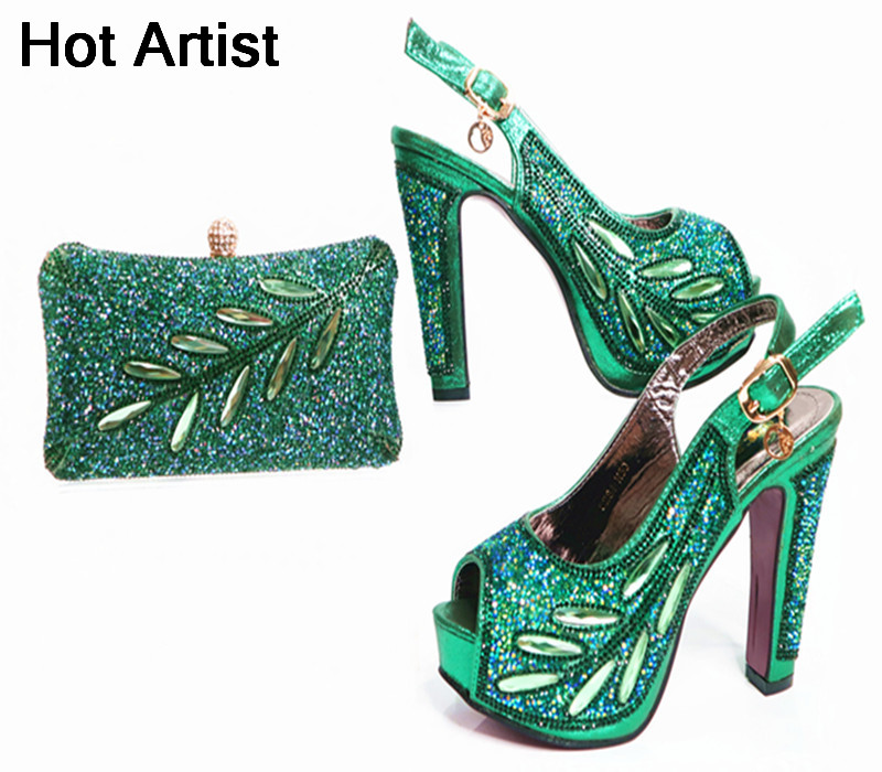 Hot Artist New Arrival Elgent Woman Shoes And Purse Set Italian Style Rhinestone High Heel Shoes And Bag Set For Party Dress G38 hot artist summer style africa woman shoes and bag set hot selling fashion slipper shoes and purse set for party bl425c