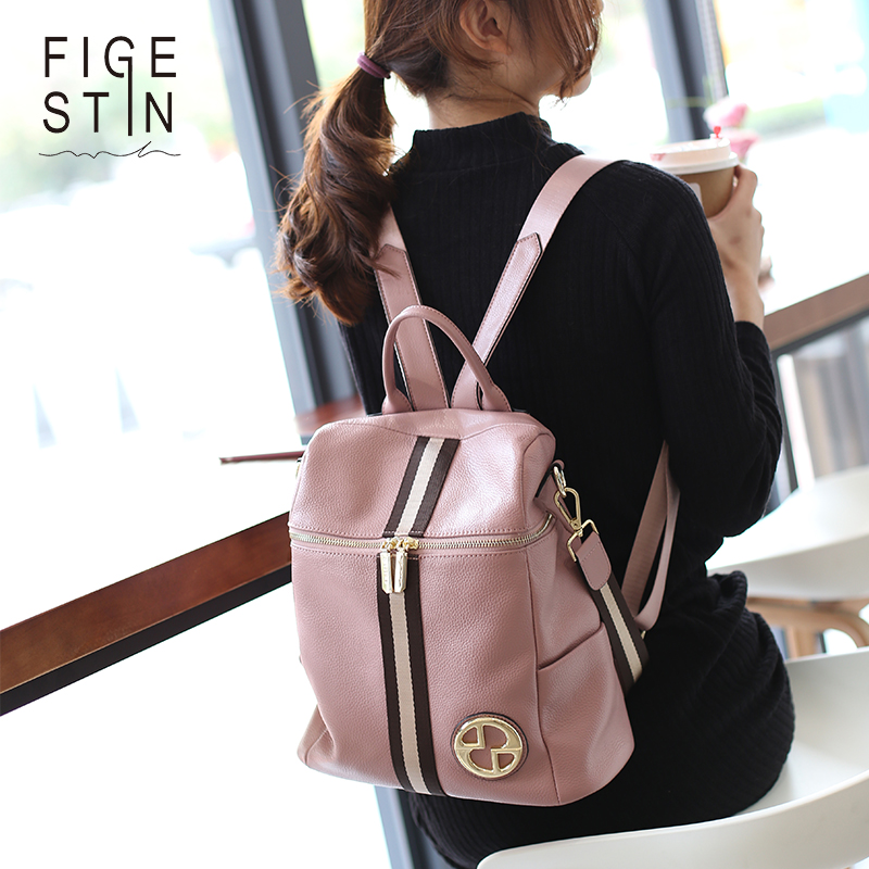Figestin Backpack Female Genuine Leather Women Backpacks School Bag Pink Stripe Multifunctional Leather Back Pack On Shoulder #3