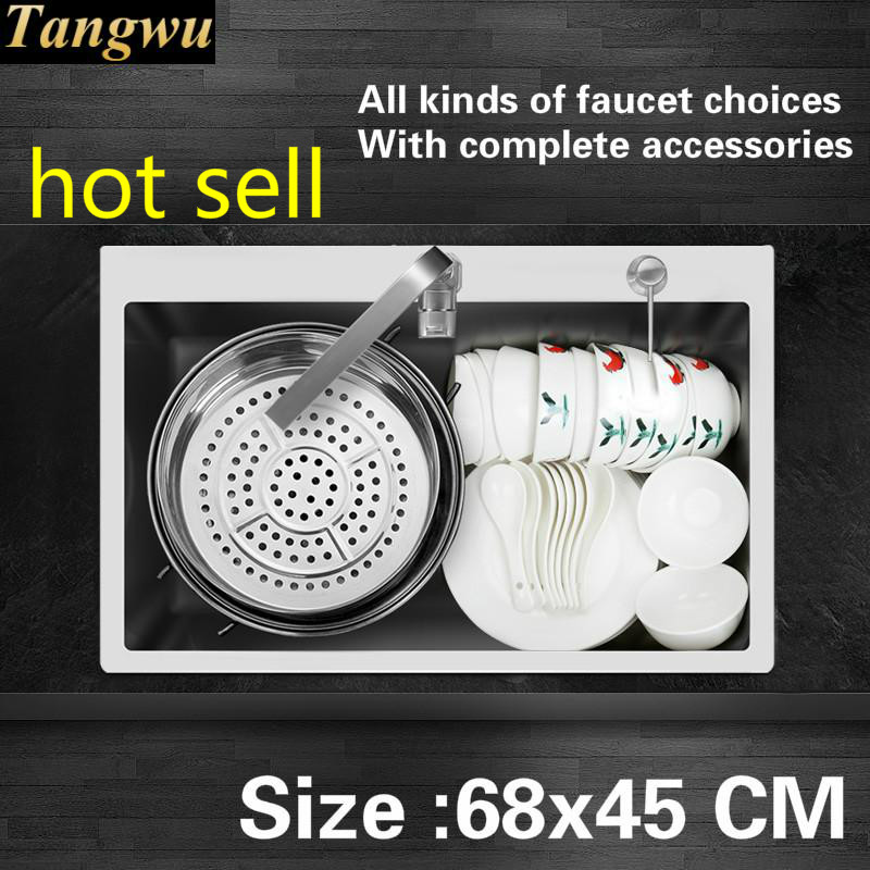 Free Shipping Fashion Big Kitchen Sink Durable 304 Stainless Steel 4 Mm Thick Hand Made Single Slot Hot Sell 68x45 CM