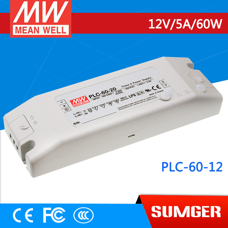 ФОТО [Sumger1] MEAN WELL original PLC-60-12 12V 5A meanwell PLC-60 12V 60W Single Output LED Power Supply