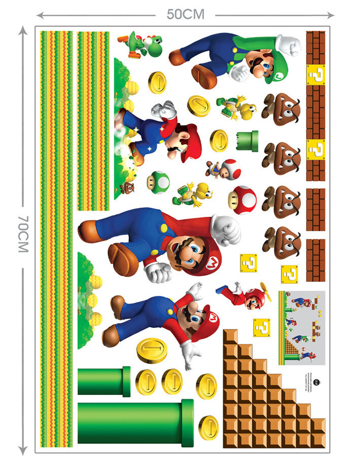 Aliexpress com   Buy Super Mario Bros Boy Cartoon Wall Stickers Kids Rooms  vinly Bedroom Decoration Decals Children Art WallPapers Home Decor Mural  from. Aliexpress com   Buy Super Mario Bros Boy Cartoon Wall Stickers