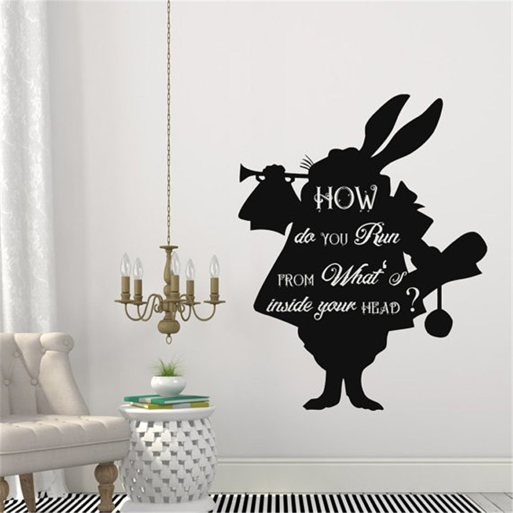 rabbit quotes promotion shop for promotional rabbit quotes on cartoon alice in wonderland rabbit in how do you run quotes wall decals kids bedroom home art decor vinyl creative mural