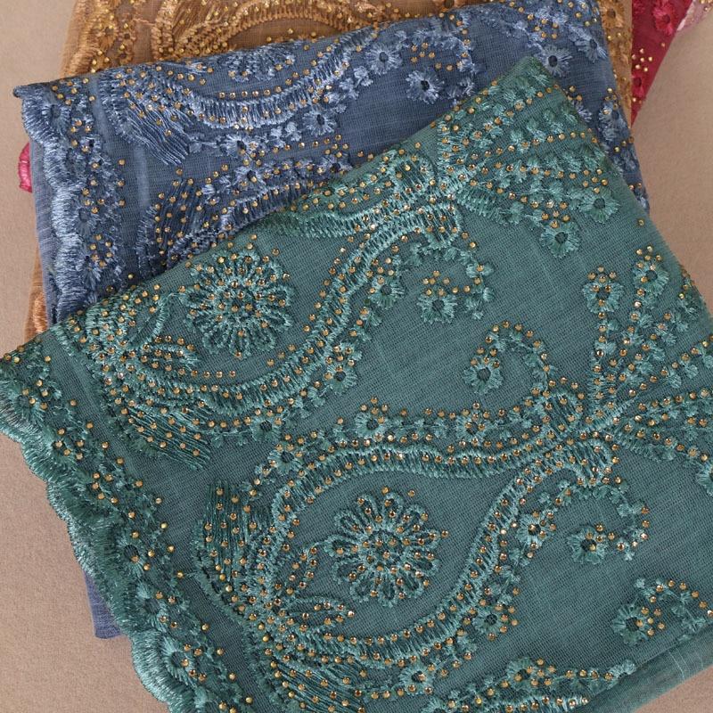 Women Plain Diamond Lace Scarf New Cotton Embroider Scarves Autumn Winter Thick Headband Wrap Muslim Hijab Echarpe Foulard Femme