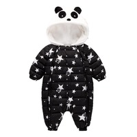 Baby panda wspinaczki ubrania dla dzieci jednoczęściowy Kombinezon Dla Niemowląt Ciepłe Kapturem druk kurtka Kombinezon ubrania bawełniane ubrania dla dzieci