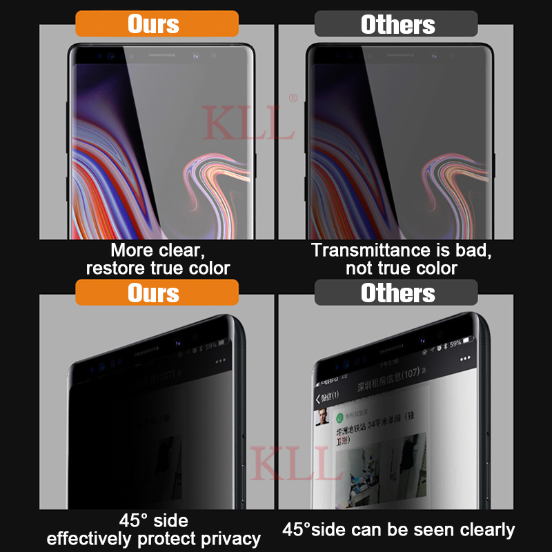 3D Curved Anti-spy Tempered Glass for Samsung Note 10 9 8 Privacy Screen Protector Anti-Peep Film for Galaxy S10 S9 S8 Plus S10e