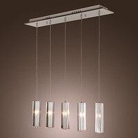 Paslanmaz Çelik 5-Lights Mini Bar Modern Kolye Işık Lamba K9 Kristal top Drop Ücretsiz Gönderim