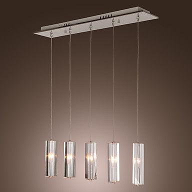 Stainless Steel 5 Lights Mini Bar Modern Pendant Light Lamp with K9 Crystal ball Drop Free Shipping