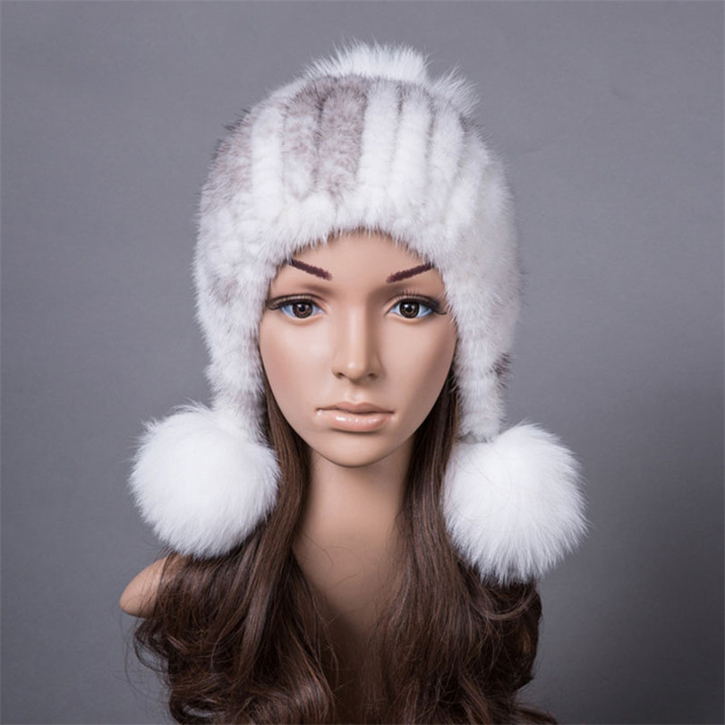 ФОТО 100% Real Mink Fur Hat for Women Winter Knitted Caps Beanies with Fox Fur Pom Poms Natural Mink Fur Thick Women's Winter Hats