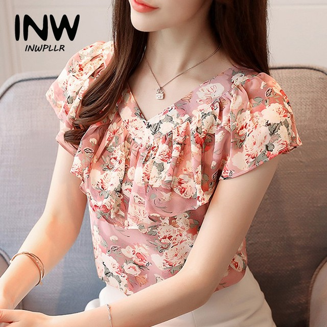 092f96dbffe2 2018 Fashion Summer Blouses Women Shirts Plus Size Floral Tops Ladies Short  Sleeve Chiffon Blusas Feminina Ruffled Blouse Mujer