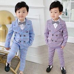 274f4c66d Chaqueta a cuadros + Pantalones niños conjuntos de dos piezas niños vestido  Formal trajes niños boda