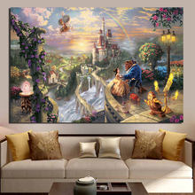 Beauty And The Beast Thomas Kinkade Canvas Painting Living Room Home Decoration Modern Wall Art Oil Posters Pictures HD