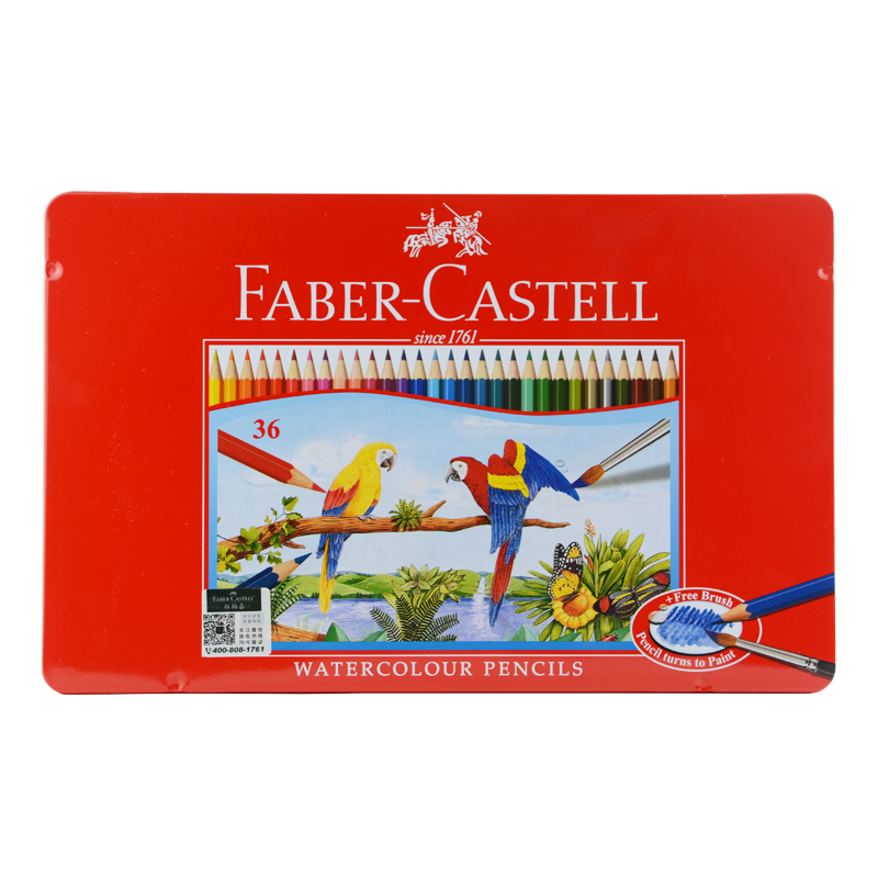 цена на Faber Castell Watercolor Pencils with Sharpener & Brush 36/48 Water Colored Pencils set In Tin Box Vibrant Vivid Pencils Artist