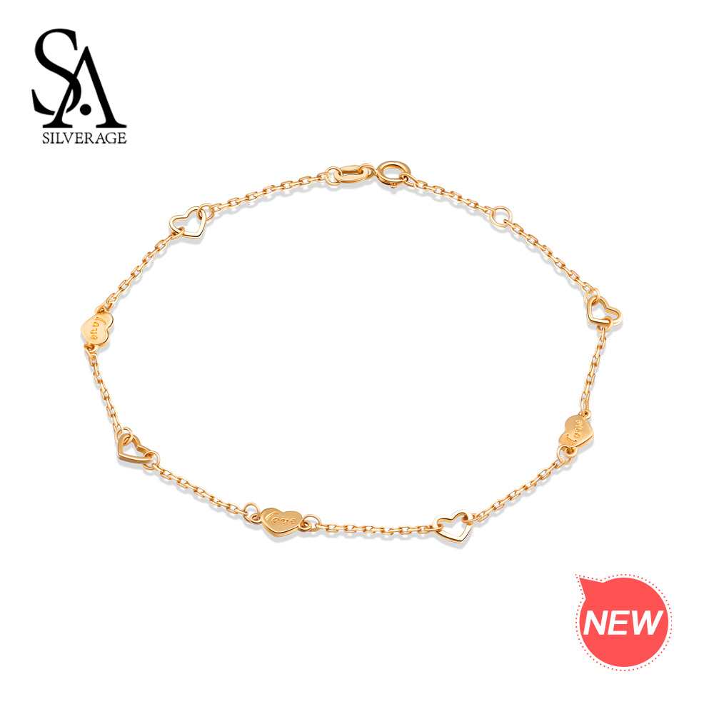 SA SILVERAGE 14K Yellow Gold Chain Link Bracelets Bangles for Women Heart Shape Charm Bracelet Love Bracelets Fine Jewelry love heart opening wings shape sweater chain