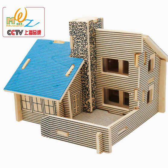 Хит продаж, детские деревянные классические 3D Пазлы для дома, деревянный дом, масштабные модели, Детские пазлы, игрушки, сделай сам, вилла, головоломка, игрушки, подарок