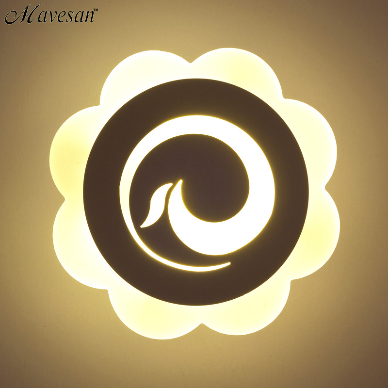 ФОТО Modern flower lampshade LED Wall Lamp For Bedroom 12W Led Wall Sconce White Indoor Lighting Lamp LED Wall Light Indoor Lamp