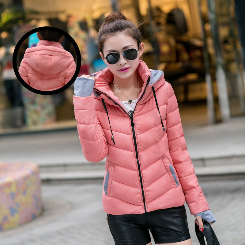 Women Winter Down Cotton Jacket Women Cotton Short Coat 2018 new Padded Slim Hooded Warm Parkas Coat Female Autumn Outerwear 2016 winter korean star style fashion long down padded jacket women slim hooded coat with big pocket cotton warm parkas ja014 page 8