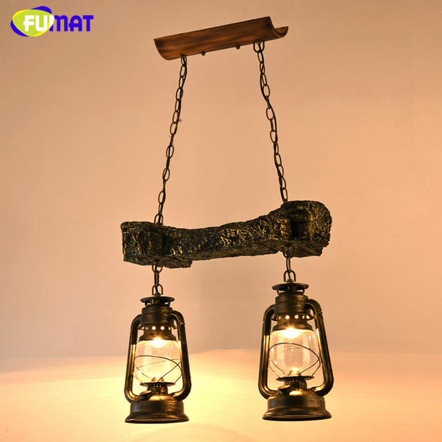 FUMAT  Glass Kerosene Lamp Vintage Classic Pendant Lamp Dining Room Home Lighting Fixture Retro Industrial LOFT Pendant Lights