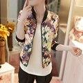 New Autumn Women Bomber Jacket Vintage Sweet Floral Collar Long-sleeved Bomber Short Print Zipper Jacket Coats