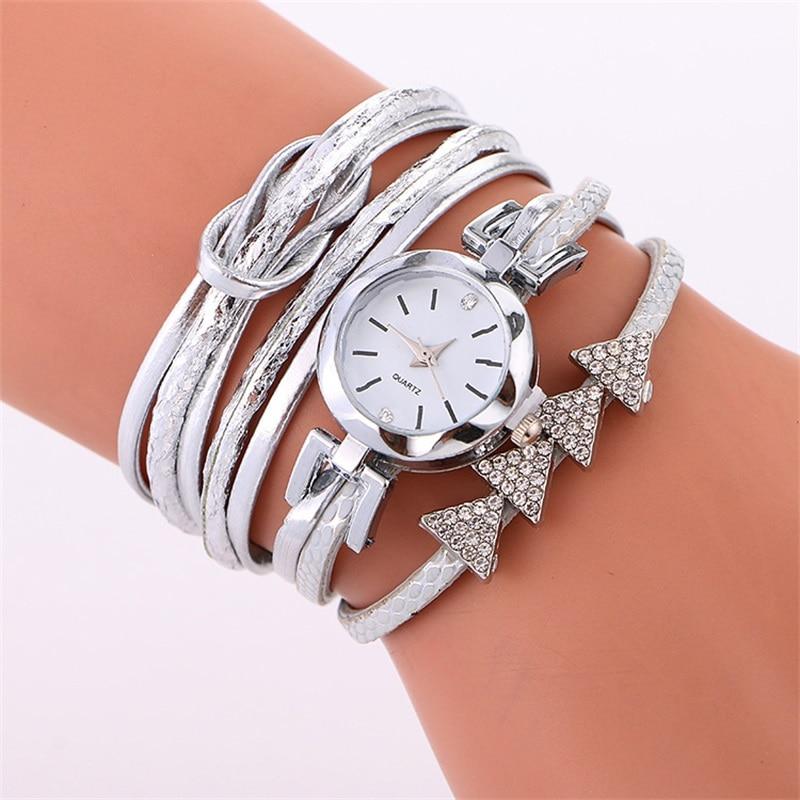 MINHIN Women Luxury Silver Bracelet Watches Fashion Rhinestone Casual Dress Quartz Wristwatches Multi Layers Rope Strap Watch
