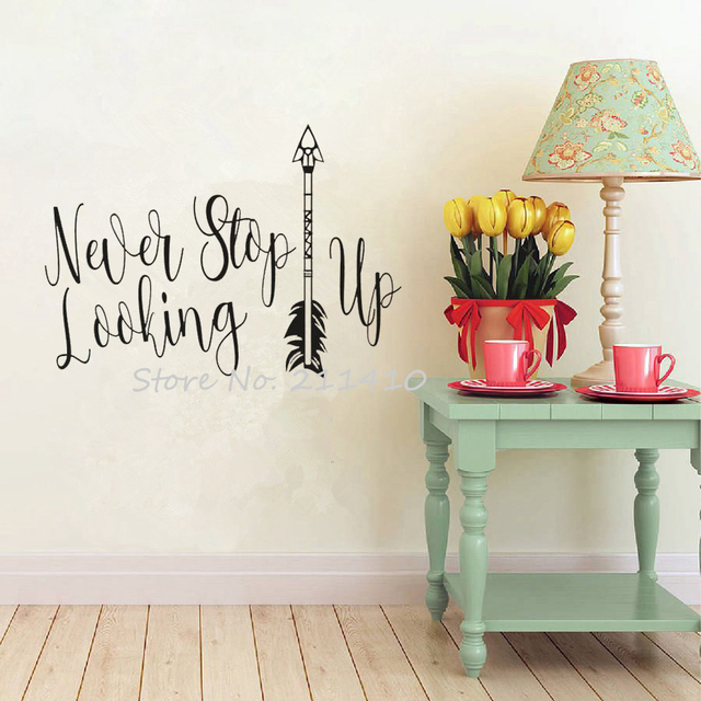 Inspirational Quotes Wall Decal Never Stop Looking Up Vinyl Letter Wall Stickers Home decor Living Room & Inspirational Quotes Wall Decal Never Stop Looking Up Vinyl Letter ...