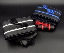 DIY protector para volante de coche de cuero de cubierta con agujas y líneas antideslizante trenza mano negro de punto 38cm Interior del coche