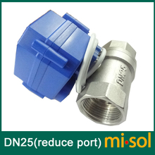 "Motorized Ball Valve G1"" DN25 (reduce port) 2 way 12VDC CR04,Stainless steel, electrical Valve"