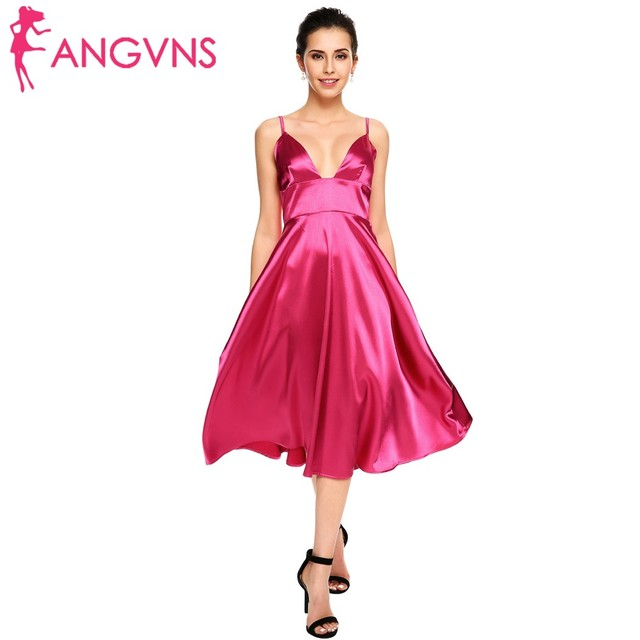 ANGVNS Women Vintage Formal Vestidos Satin Spaghetti Strap A-Line Backless  Sexy Midi Dresses Party Gown Evening Robe De Soiree 9bf49406c3c7