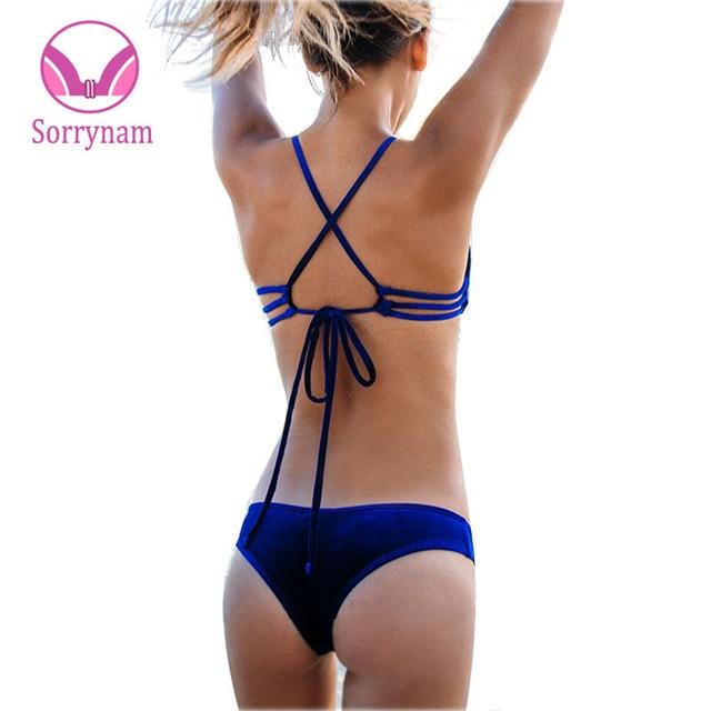 2017 Новый Сексуальный Micro Bikinis Swimsuit Женщин Бархат Купальники Холтер Бразильское Бикини Set Beach Купальники Swim Wear Biquini