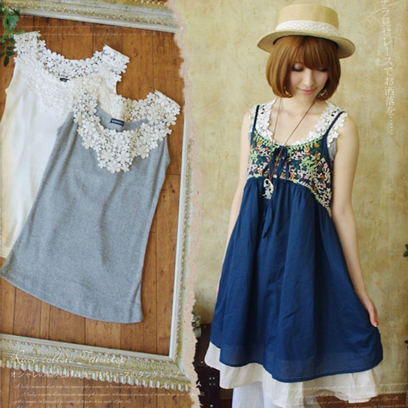 Japanese Summer Mori Girl Vest Tank Women Cute Daisy Lace Petal Hollow Sleeveless Cotton Bottoming Female Kawaii Tops Tees T206