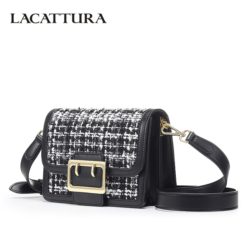 все цены на LACATTURA Small Women Crossbody Bags Chic Woolen Fragrance Flap Bag Designer Mini Organ Handbag Lady Shoulder Bag Tweed