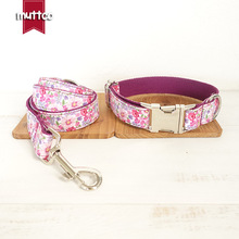 MUTTCO top quality handmade purple floral unique style pet collar dog leads chain rope pets products dogs collars leashes set