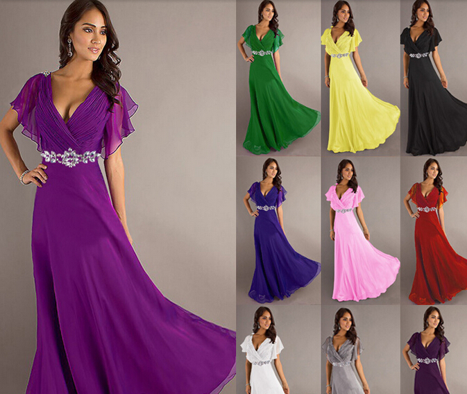 Purple maxi evening dress ukuran