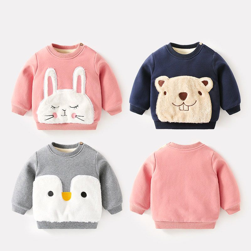 цены Baby Sweater For Boy 2018 Winter Clothes Velvet Warm Sweater Animal Rabbit For Baby Girls Pullover Newborn Comfortable Clothes